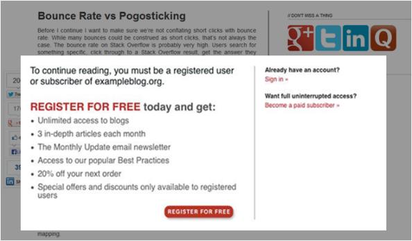 A barreira do registo num website