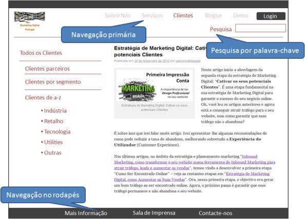 Sistema Navegação do Website