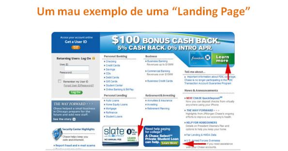 Mau exemplo de Landing Page