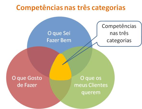 Competências nas três categorias para negócio online