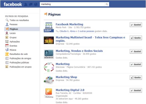 Resultados da pesquisa no Facebook para negócio online