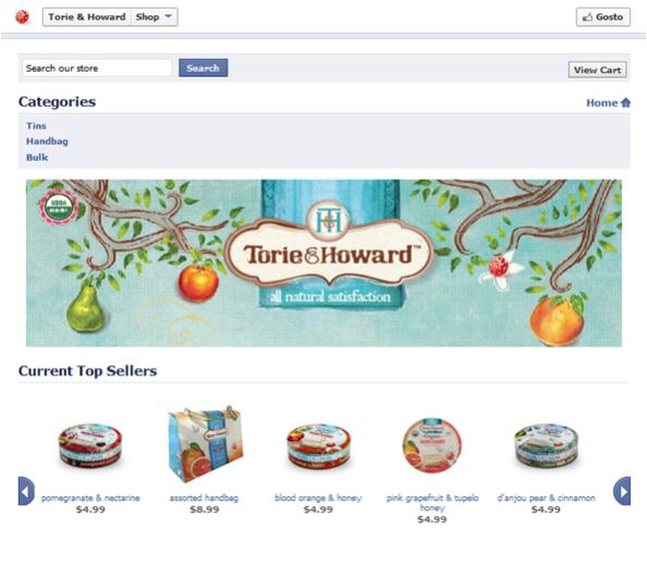 Exemplo de uma loja no Facebook criada com Bigcommerce