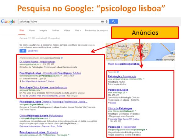 "SEO: Pesquisa no Google ""psicologo lisboa"""