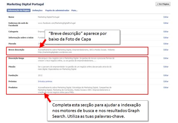 Melhorar a descrição da Página no Facebook
