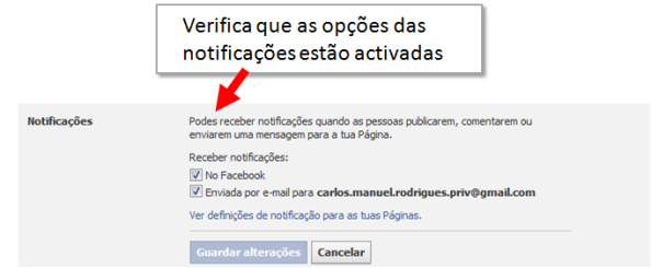 Notificações activas no Facebook