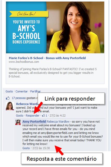 Funcionalidade Respostas aos Comentários no Facebook