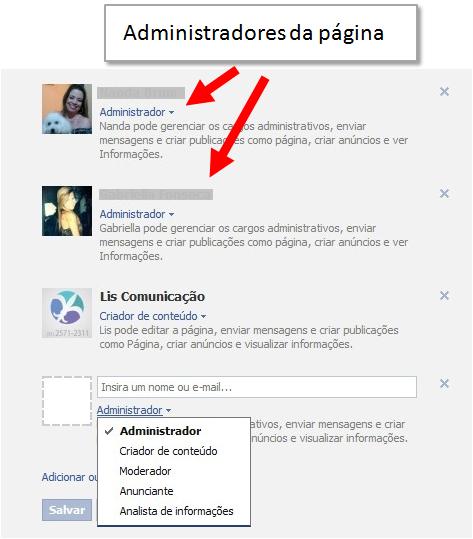 Administradores da Página no Facebook